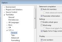 Inställningar i Visual Studio